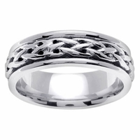 6.5mm White Gold Celtic Ring