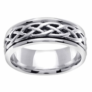 6.5mm White Gold Celtic Wedding Ring