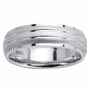 6.5mm White Gold Domed Wedding Ring with Grooves