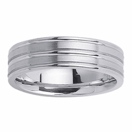 6.5mm White Gold Mens Wedding Band