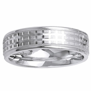 6mm Crisscross Design Mens Band