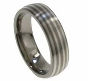 6mm Domed Titanium and Silver Wedding Band for Men or Women