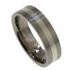 6mm Flat Titanium and Silver Wedding Band