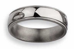 6mm Grooved Titanium Ring High Polish Finish