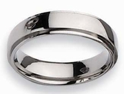6mm Step Down Titanium Ring High Polish Finish