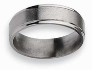 6mm Titanium Wedding Ring Step Edge Brushed Finish