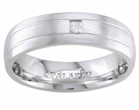 7mm Grooved Palladium Ring Mens Princess Cut Diamond