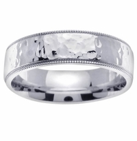 7mm Hammered Wedding Ring