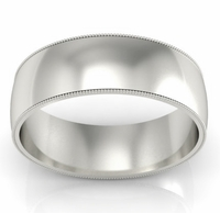 7mm Platinum Wedding Band Milgrain