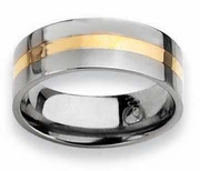 8mm 14k Yellow Gold Inlay Titanium Ring Flat Polished Finish