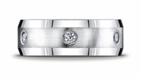 8mm Benchmark Mens Diamond Eternity Palladium Ring