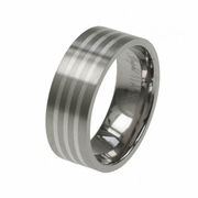 8mm Flat Titanium and Silver Wedding Band for Men