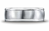 8mm Mens Wire-Brush Benchmark Palladium Ring