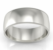 8mm Platinum Wedding Band Milgrain