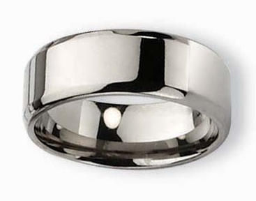 8mm Polished Titanium Wedding Ring with Beveled Edges - click to enlarge