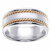 8mm Two Tone Mens Wedding Ring with Handmade Design