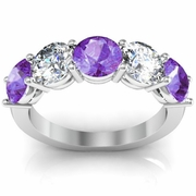 Amethyst Birth Stone Ring Round February 3.00cttw