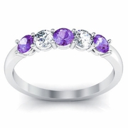 Amethyst Engagement Ring Shared Prong Round Brilliant Cut