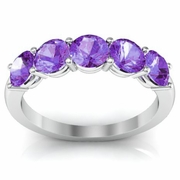Amethyst Ring Five Stones 1.50cttw