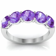 Amethyst Five Stone Ring