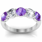 Amethyst Ring with Brilliant Diamonds 2 Carats Shared Prong Setting