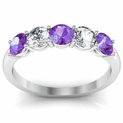 Amethyst Ring February Birth Stone Round Cut