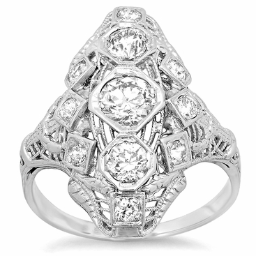 Antique Style Three Stone Dinner Ring 1.35cttw 18kt White Gold - click to enlarge