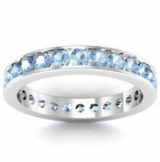 Aquamarine Eternity Ring in Channel Setting