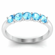Aquamarine Five Stone Ring