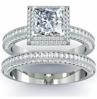 Art Deco Double Halo Princess Diamond Wedding Set - Preset