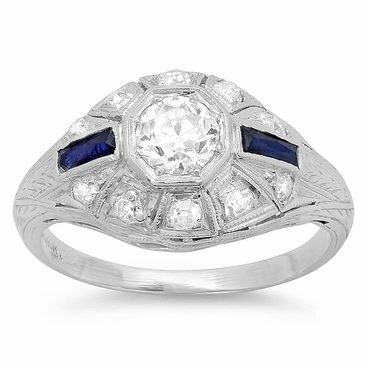 Art Deco Engagement Ring with Diamonds and Sapphires in Platinum - click to enlarge