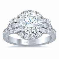 Art Deco Style Halo Engagement Ring