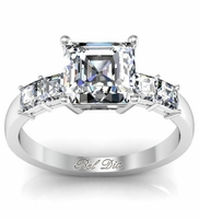 Asscher Five Diamond Engagement Ring