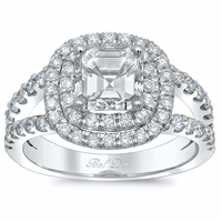 Asscher Low Split Double Halo Engagement Ring