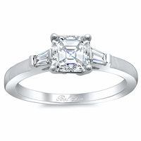 Asscher Three Stone Engagement Ring with Baguettes