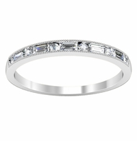 Baguette and Round Diamond Accented Wedding Band