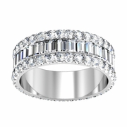 Baguette Eternity Band with U-Pave Round Diamonds