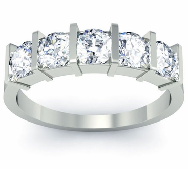 Bar Set 5 Stone Ring Round Cut Diamond - click to enlarge