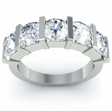 Bar Set Round Cut Diamond Band - click to enlarge