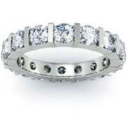 Bar Set Round Diamond Eternity Wedding Band