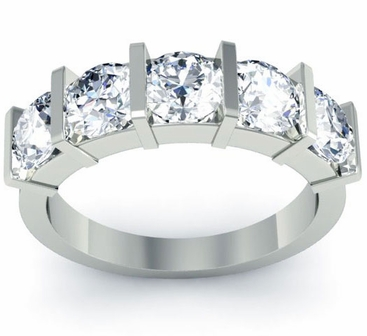 Bar Set Diamond Anniversary Ring - click to enlarge