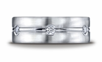Benchmark 8mm Mens Eternity Diamond Palladium Wedding Ring