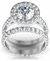 Bezel Halo Engagement Ring with Matching Wedding Band