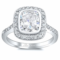 Bezel Set Pave Halo Engagement Ring