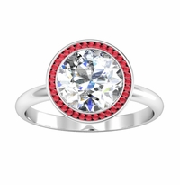 Bezel Set Ruby Halo Engagement Ring