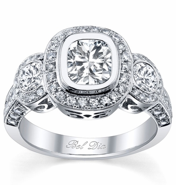 Bezel Set Three Stone Halo Engagement Ring - click to enlarge