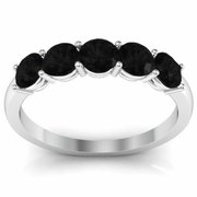 Black Diamond 5 Stone Wedding Ring