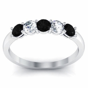 Black Diamond and White Diamond 5 Stone Ring