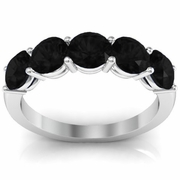 Black Diamond April Birthstone Five Stone Ring