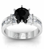 Black Diamond Channel Set Princess Engagement Setting